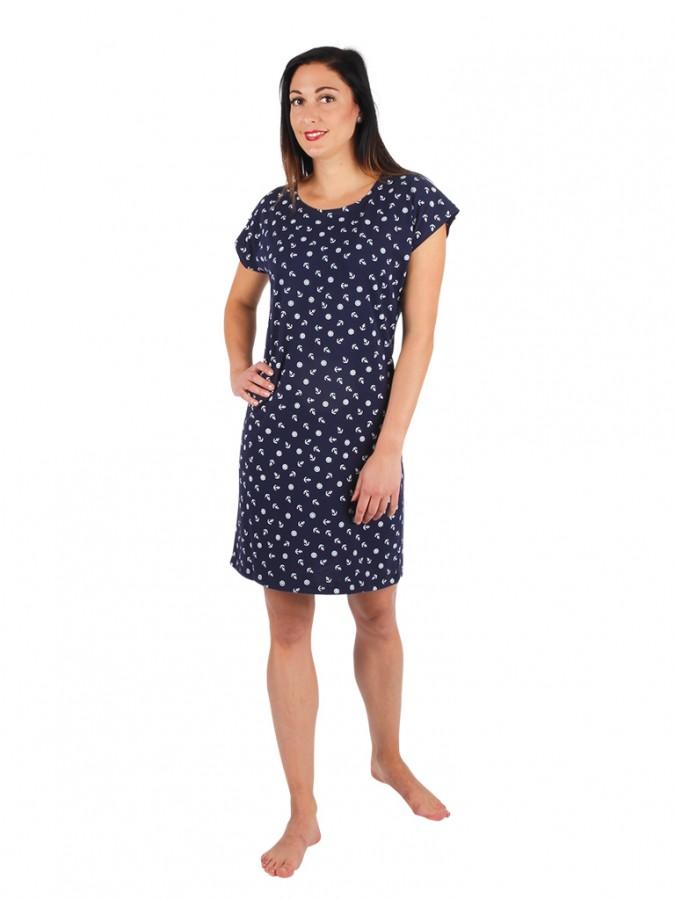 246d21db9ab Dámské krátké šaty TEMPESTA kotvičky modré