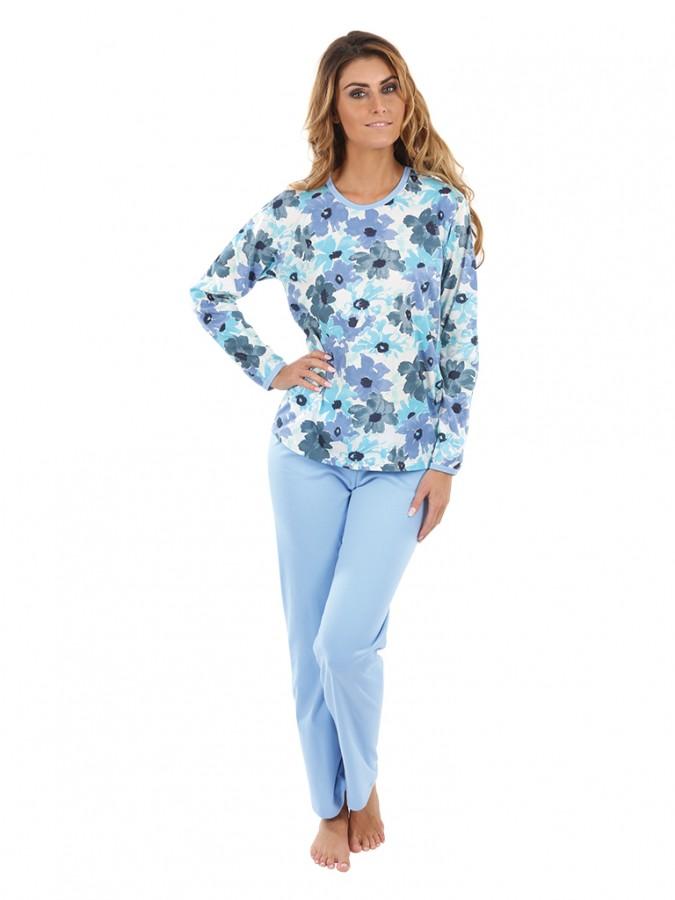 8c2fdecb1f2e Dámské pyžamo P1406 květy modré