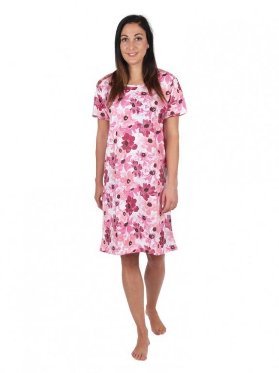 Dámská noční košile P1411 květy ružové