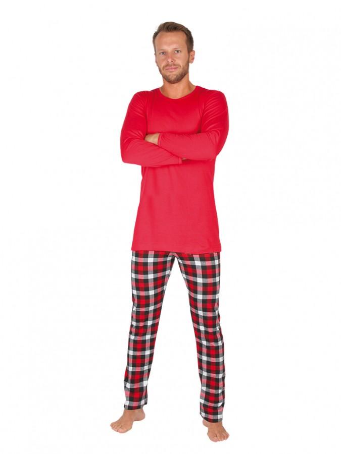 89b061e79 Pánské dlouhé pyžamo ANDRE červené | EVONA
