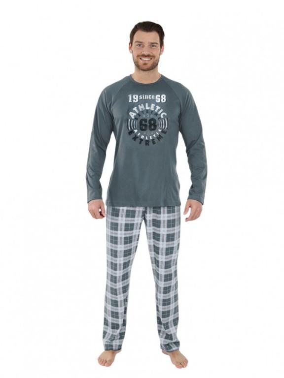 Pánské dlouhé pyžamo KENDY šedé