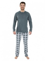 Pánské dlouhé pyžamo KENDY šedé č.2