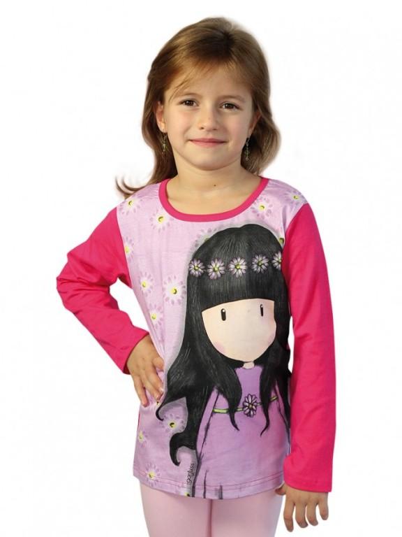 f140ec50e5a Dívčí triko s dlouhým rukávem GORJUSS růžové
