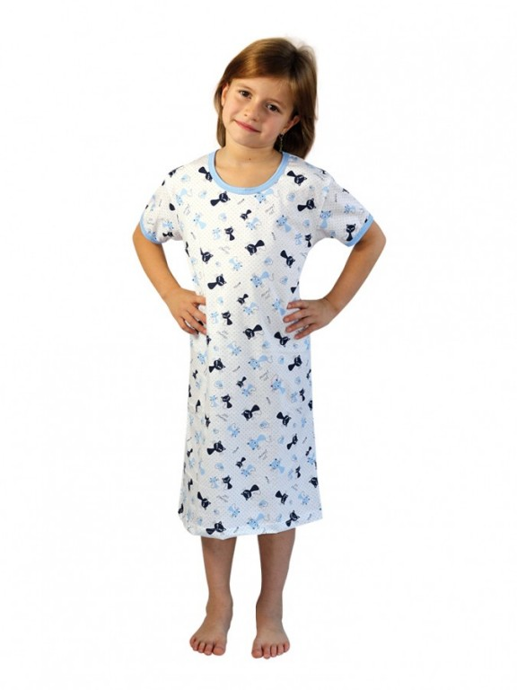 Dívčí noční košile P1415 kočičky modré