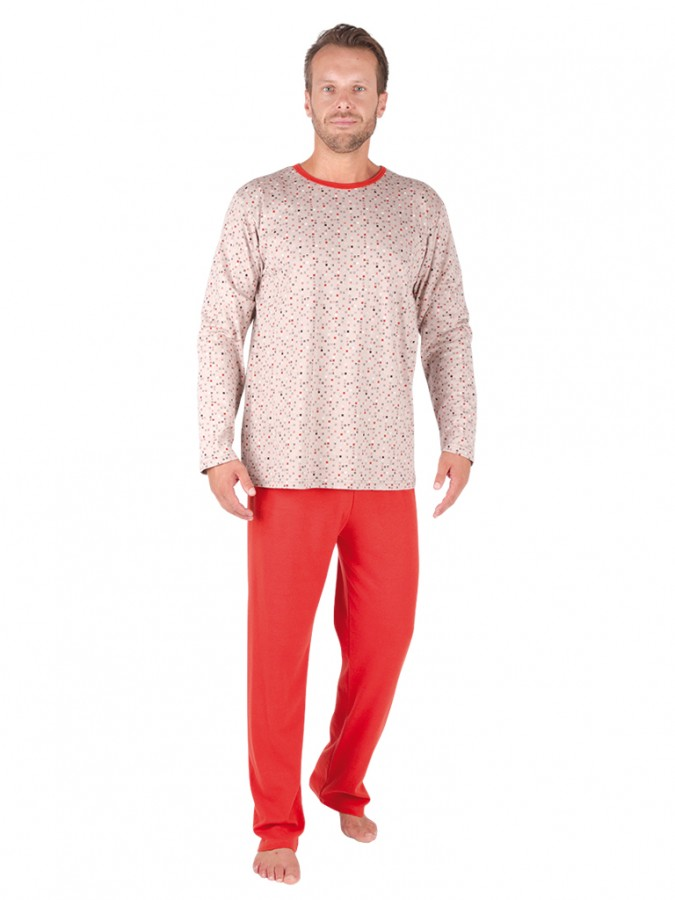 EVONA a.s. Pánské dlouhé pyžamo P 1905 473 hnědé kostičky - P1905 473 XXL